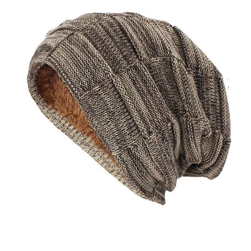 Knitted Woolen Beanie In Khaki