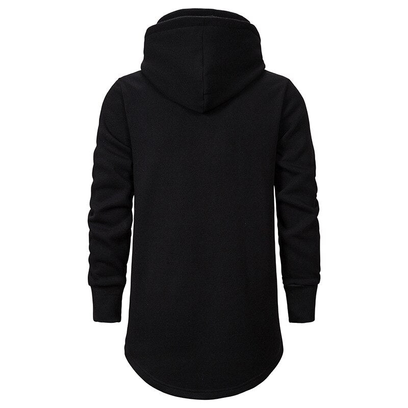 Casual High Collar Hoodie In Black