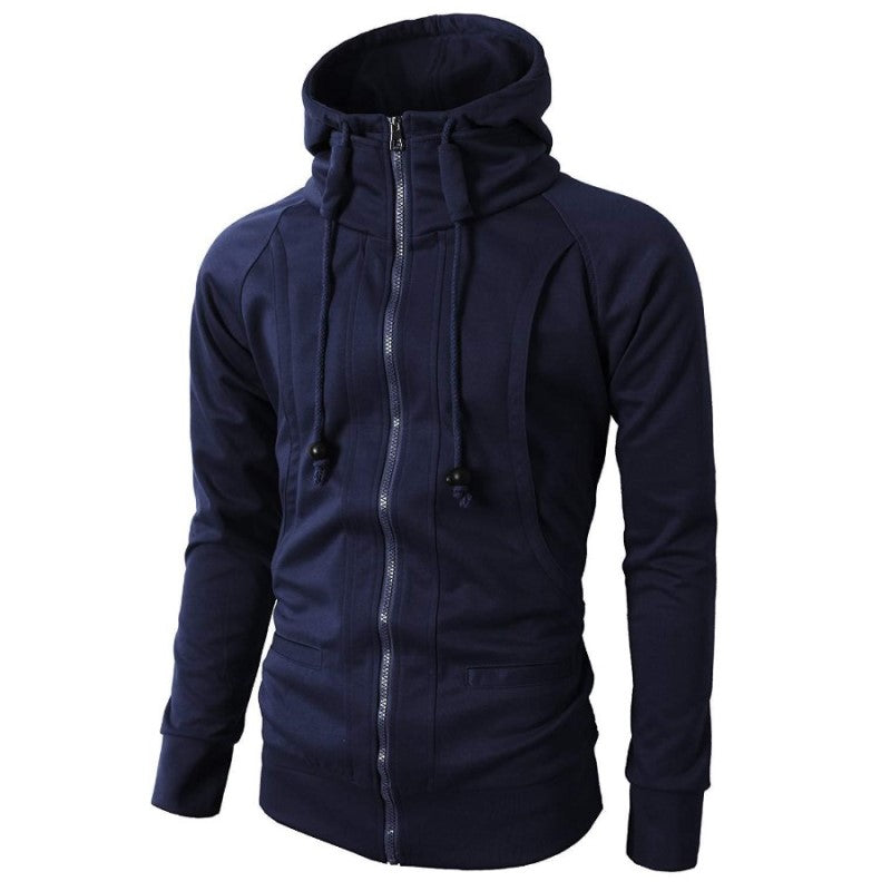 High Neck Hoodie In Blue