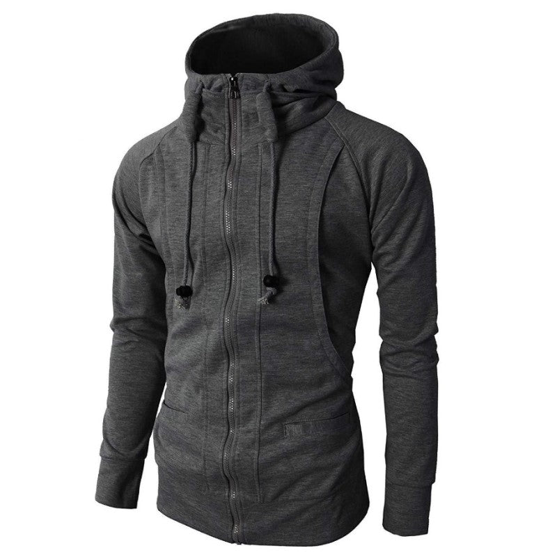High Neck Hoodie In Dark Gray