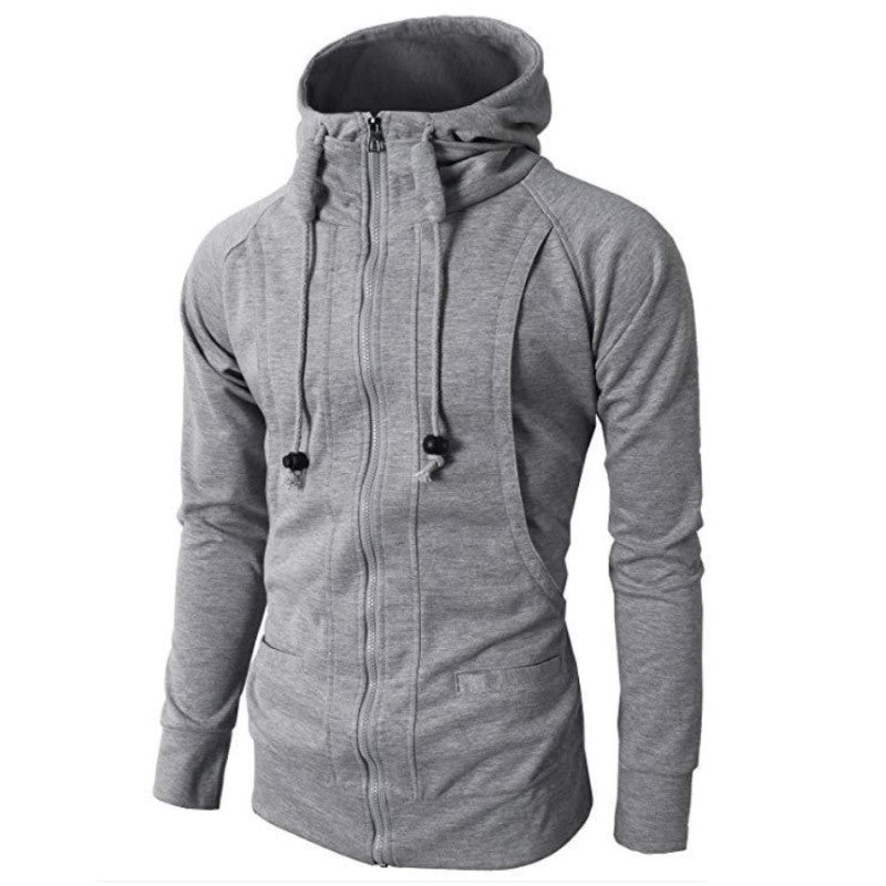 High Neck Hoodie In Light Gray