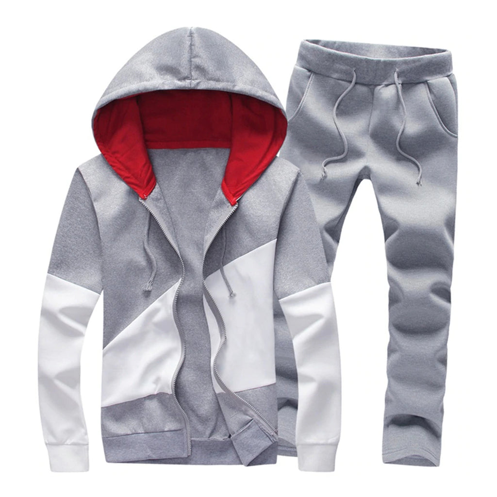 Color Block Casual Set In Gray