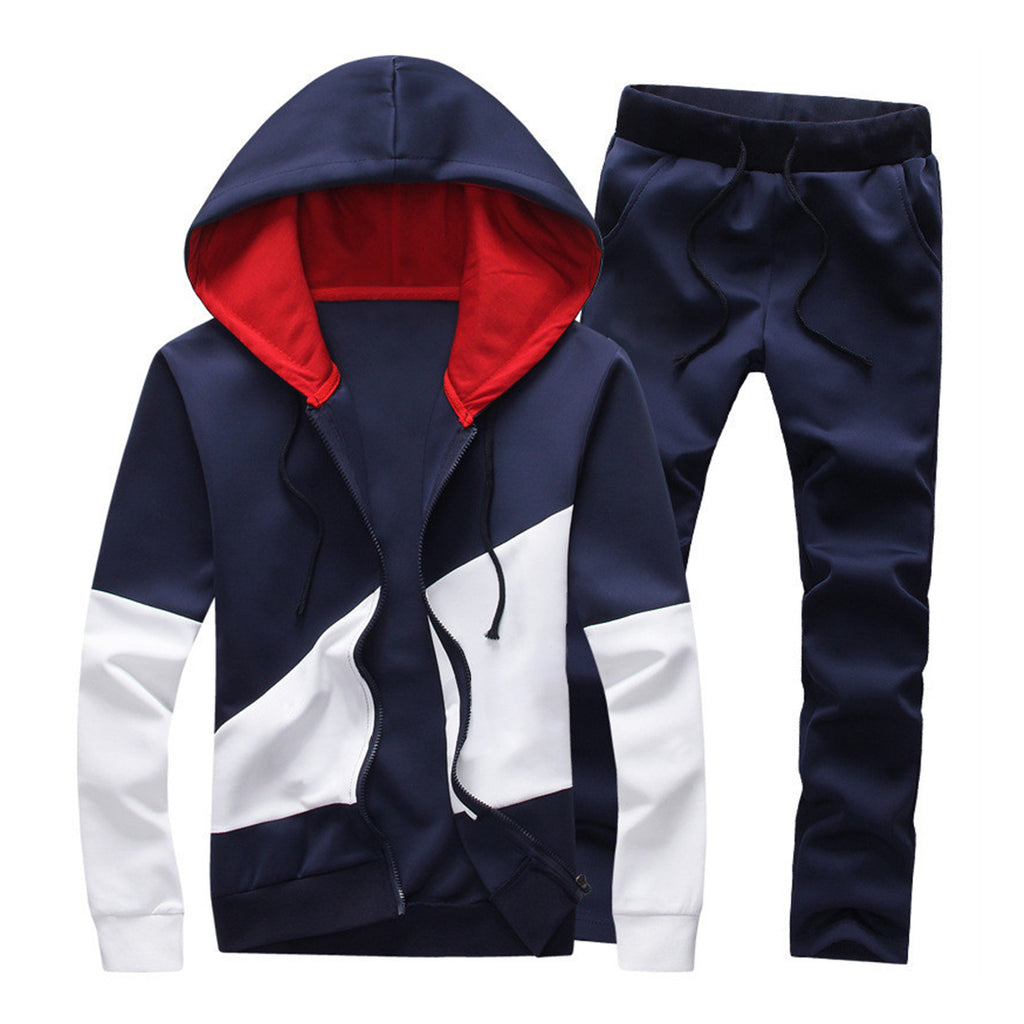 Color Block Casual Set In Navy Blue
