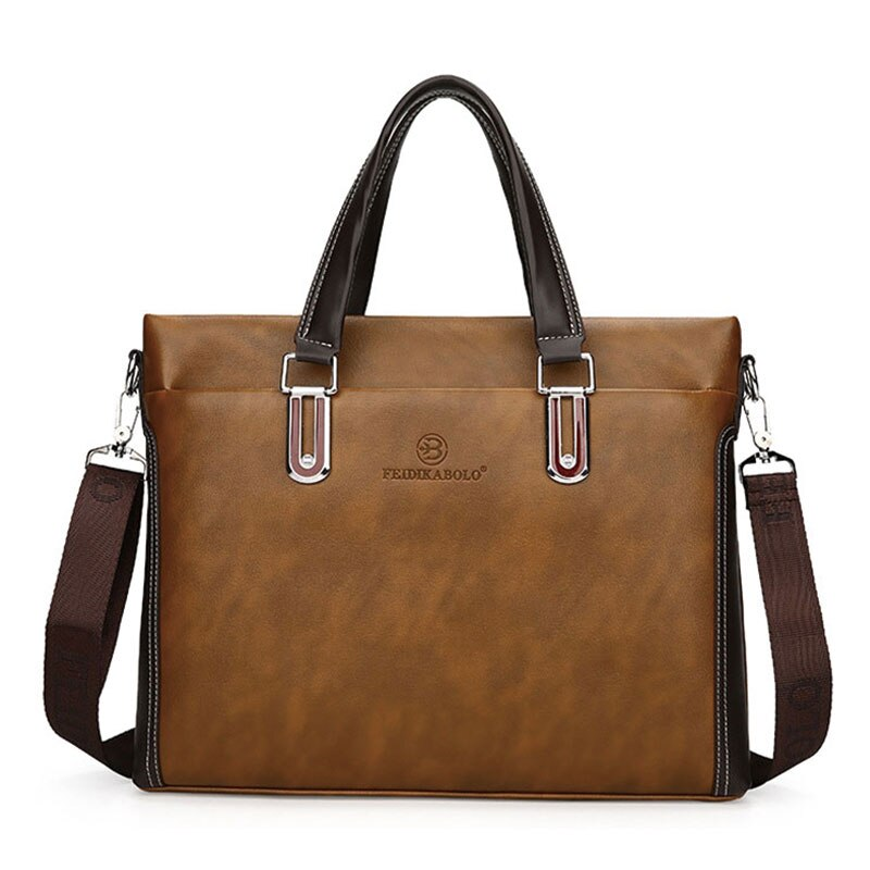 Business Laptop Leather Bag In Khaki