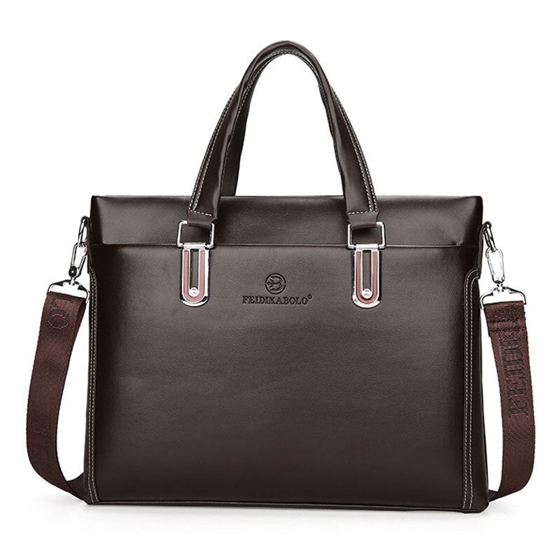Business Laptop Leather Bag In Brown