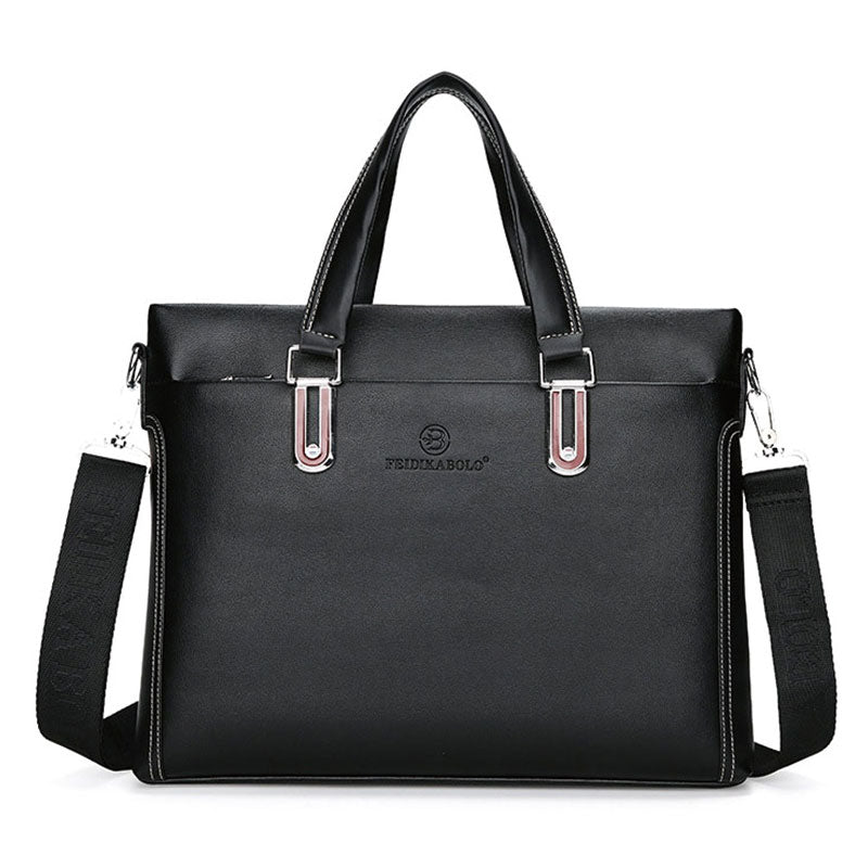 Business Laptop Leather Bag In Black