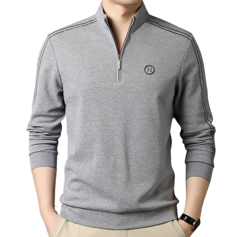 Long Sleeved Zipper Collar Shirt In Gray