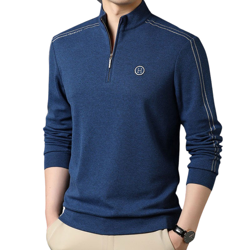 Long Sleeved Collar Shirt In Blue