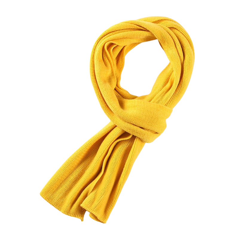Elegant Knitted Scarf In Yellow