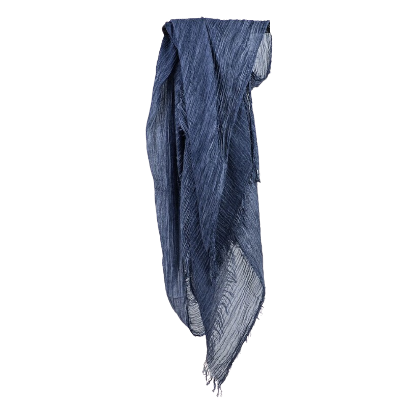 Long Cotton Scarf In Dark Blue