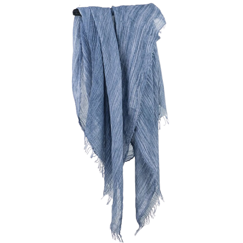 Long Cotton Scarf In Blue