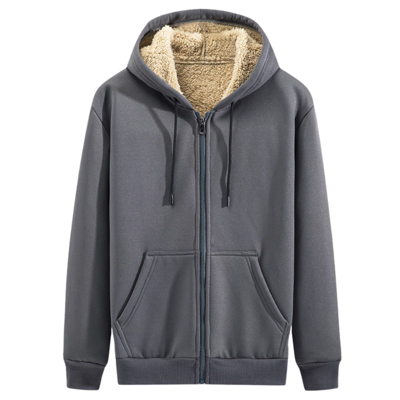 Casual Cotton Zip Up Hoodie In Dark Gray