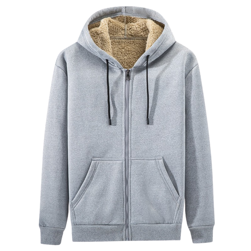 Casual Cotton Zip Up Hoodie In Light Gray