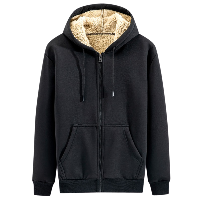 Casual Cotton Zip Up Hoodie In Black
