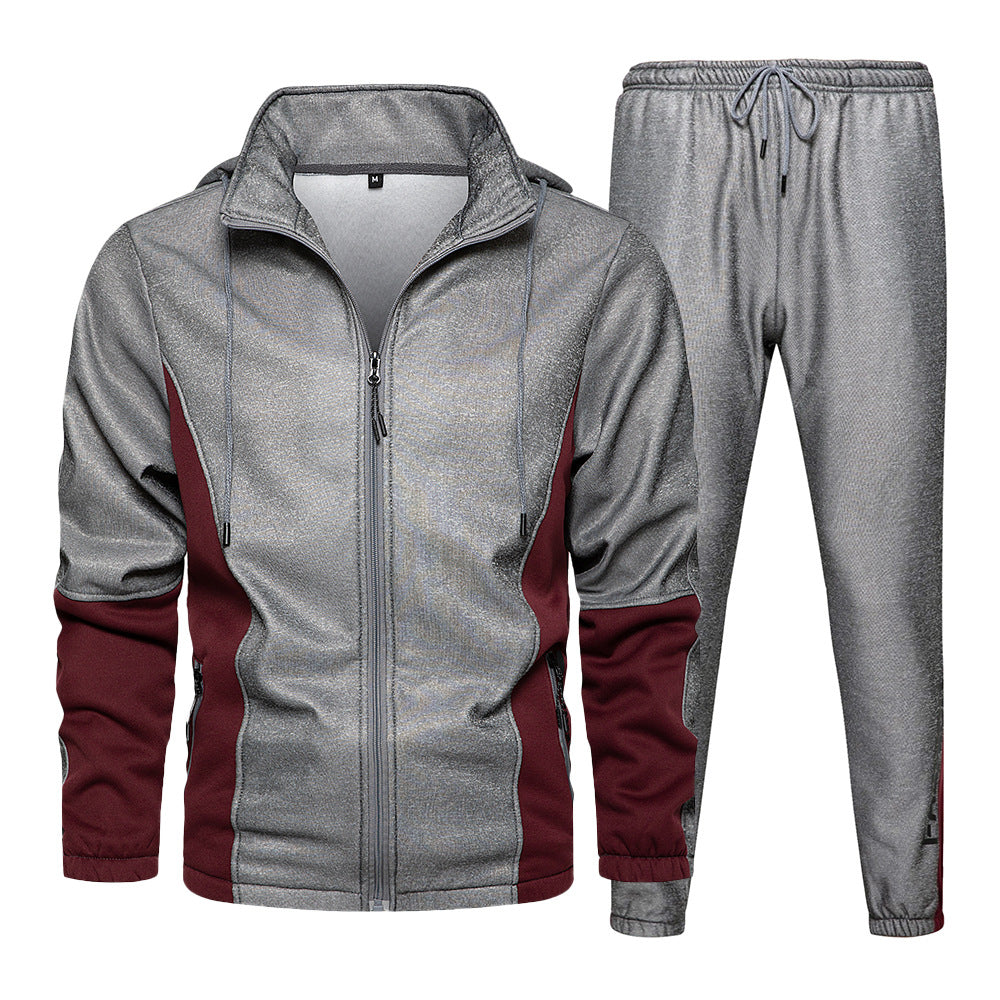 Hooded Tracksuit Set In Gray