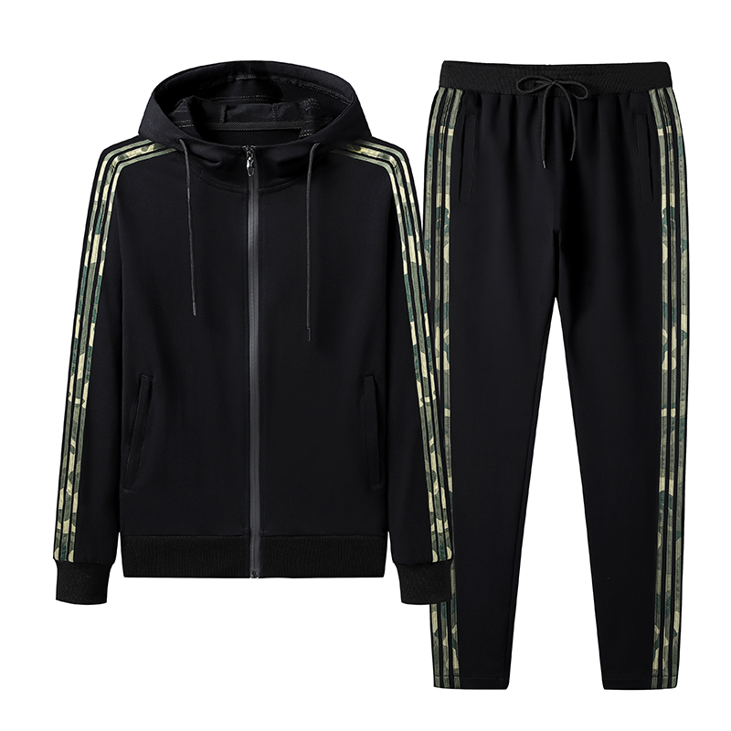 Sporty Hooded Running Set In Black