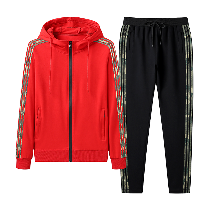 Sporty Hooded Running Set In Red