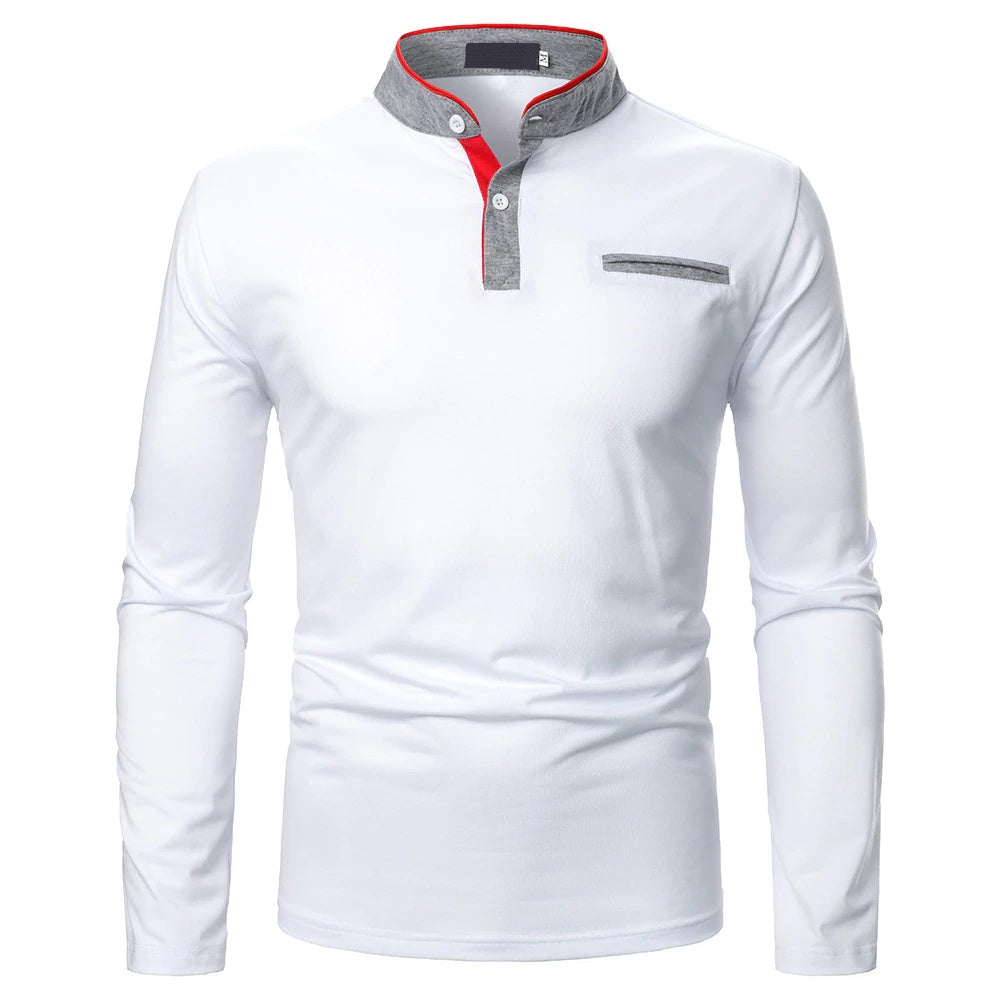Voguish Long Sleeve Polo Shirt In White