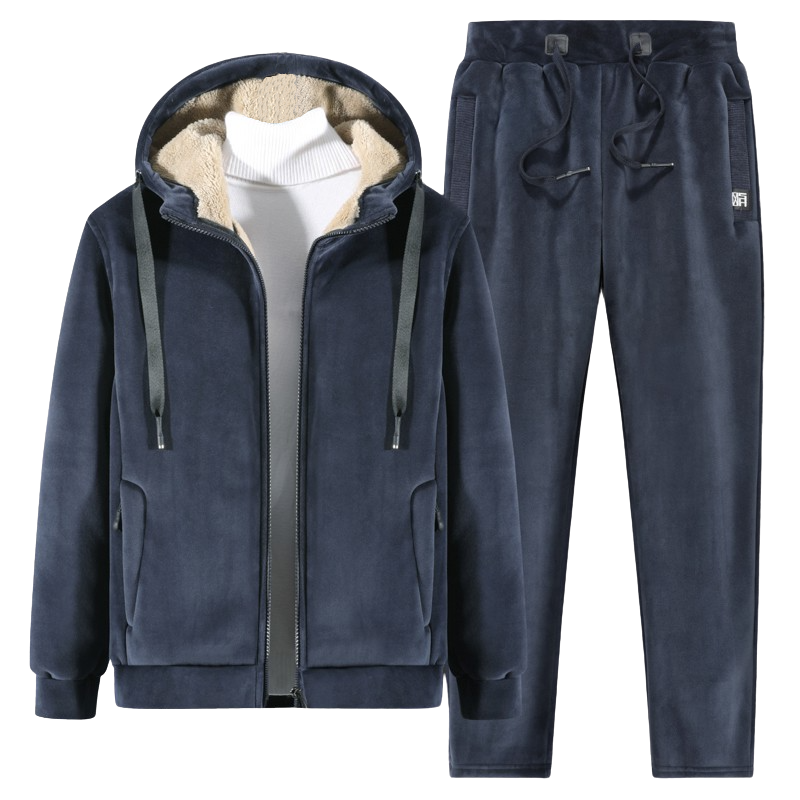 Wool Padded Hoodie Set In Blue
