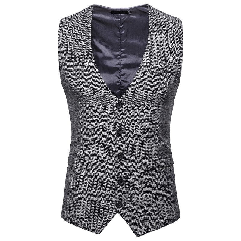 Business Slim Fit Vest In Gray