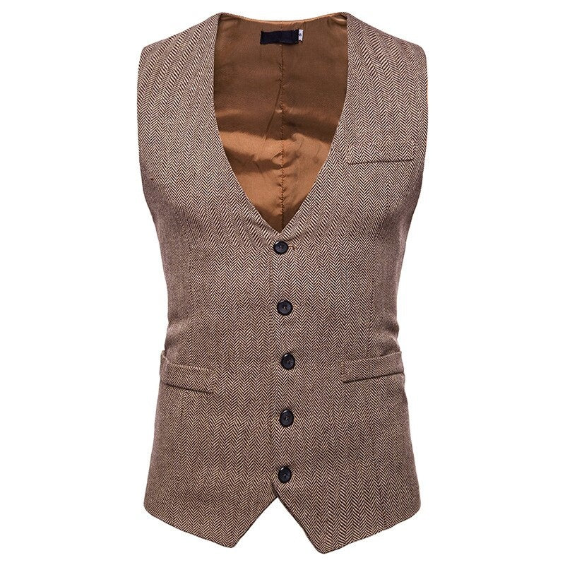 Business Slim Fit Vest In Brown