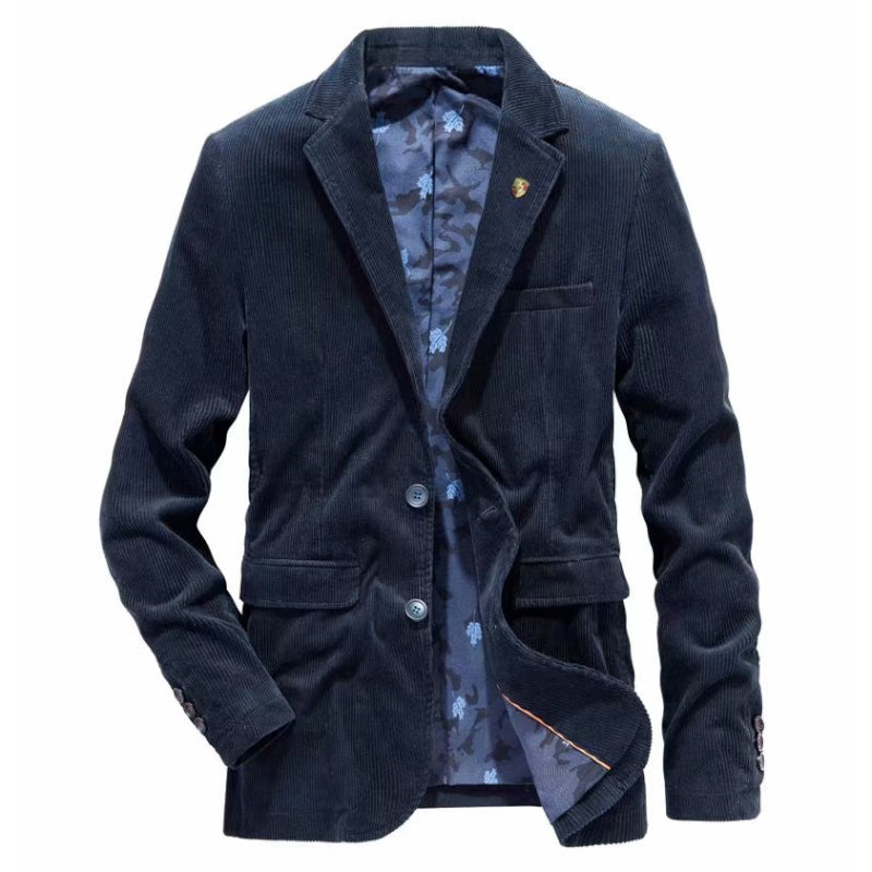 Casual Corduroy Blazer In Blue