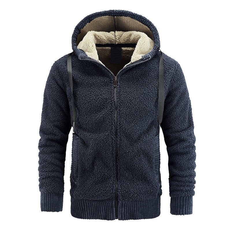 Warm Cashmere Hoodie In Navy Blue