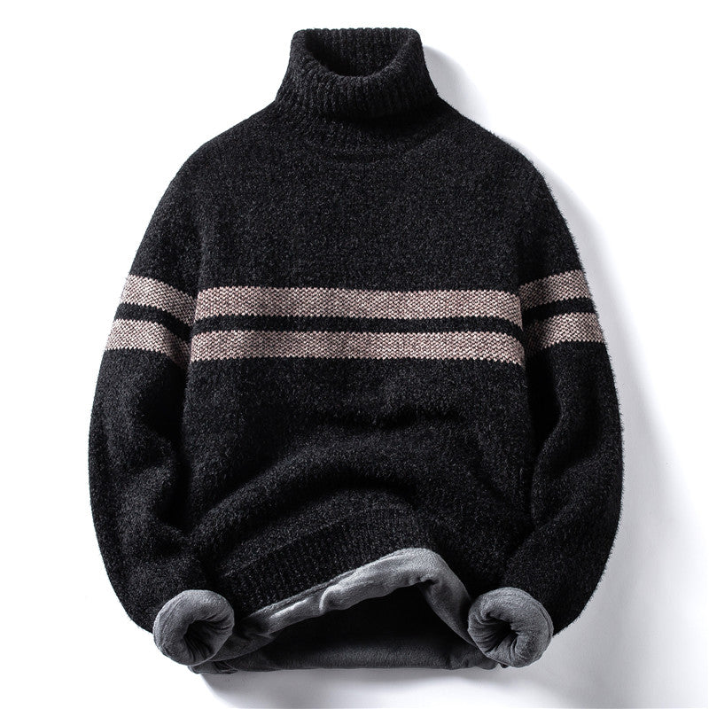Horizontal Stripes Sweater In Black