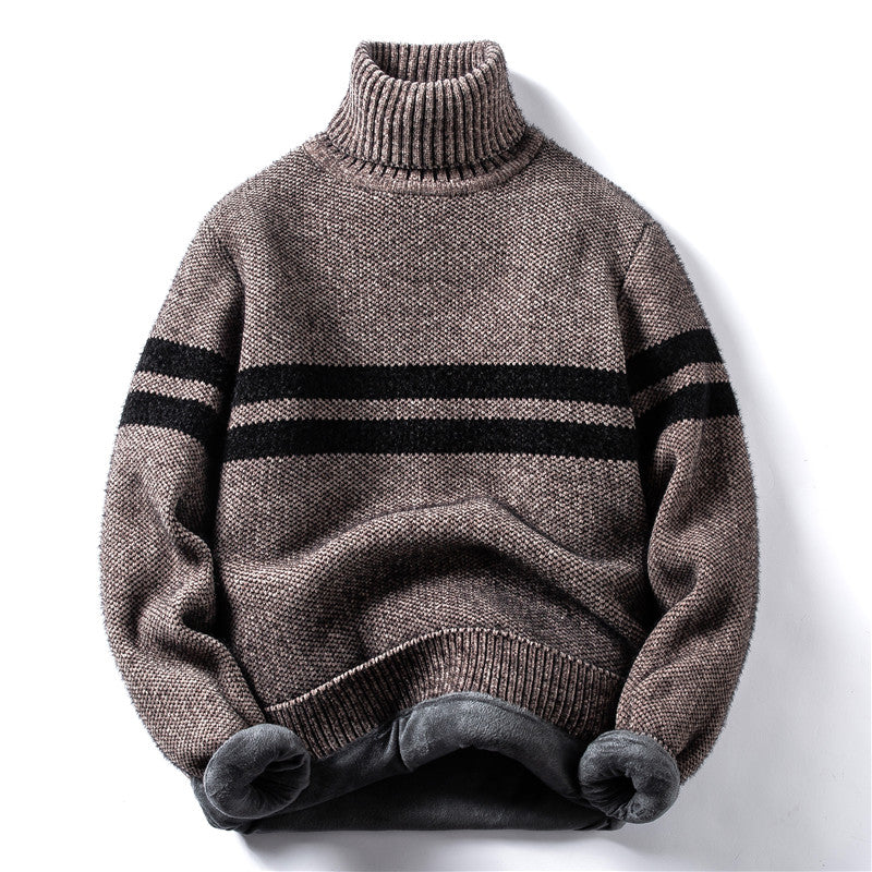 Horizontal Stripes Sweater In Khaki