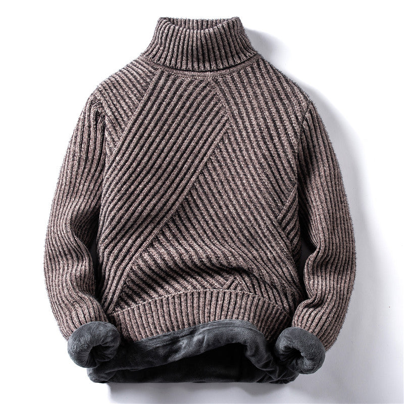 Diagonal Stripes Sweater In Khaki