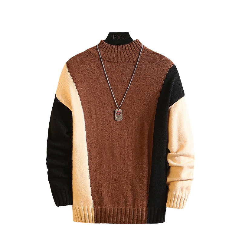 Round Neck Knitted Sweater In Brown