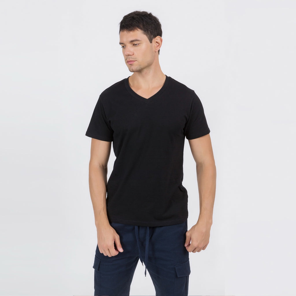 Casual V-Neck T-Shirt In Black