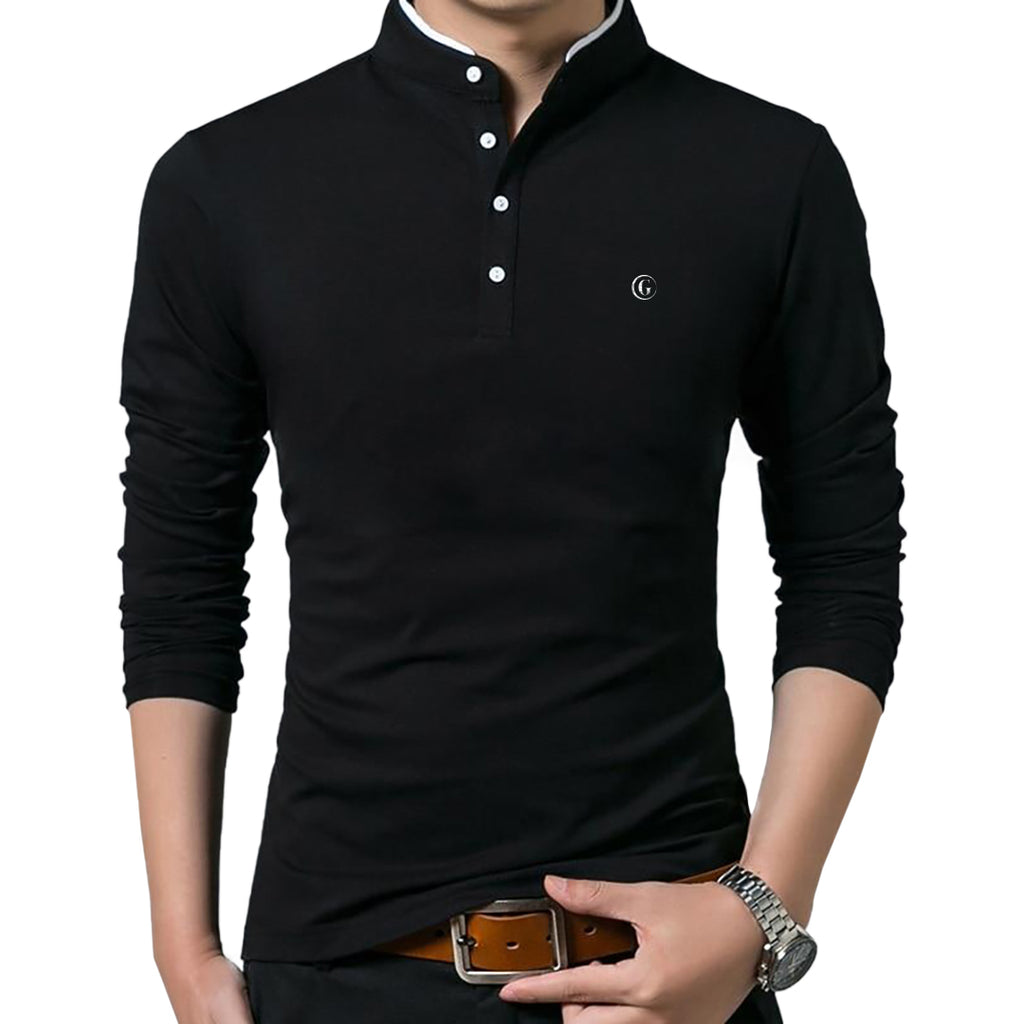 Gentoni Embroidered Logo Mandarin Collar Polo Shirt In Black