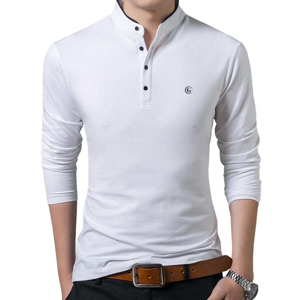 Gentoni Embroidered Logo Mandarin Collar Polo Shirt In White