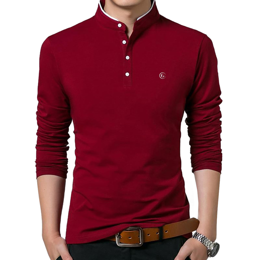 Gentoni Embroidered Logo Mandarin Collar Polo Shirt In Red