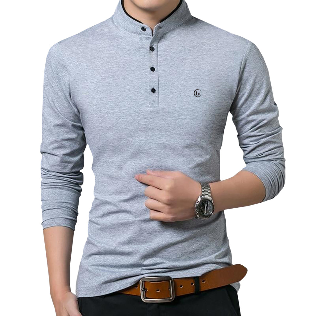 Gentoni Embroidered Logo Mandarin Collar Polo Shirt In Gray