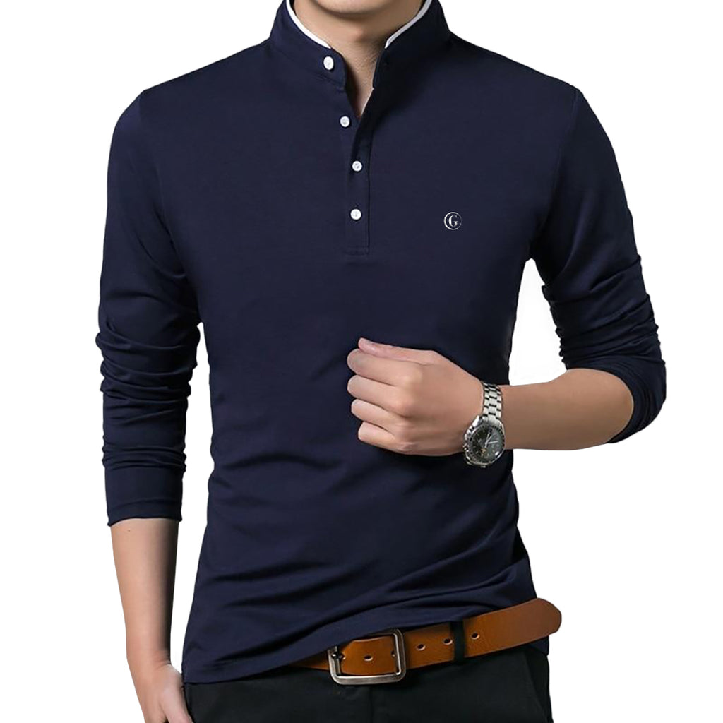 Gentoni Embroidered Logo Mandarin Collar Polo Shirt In Blue