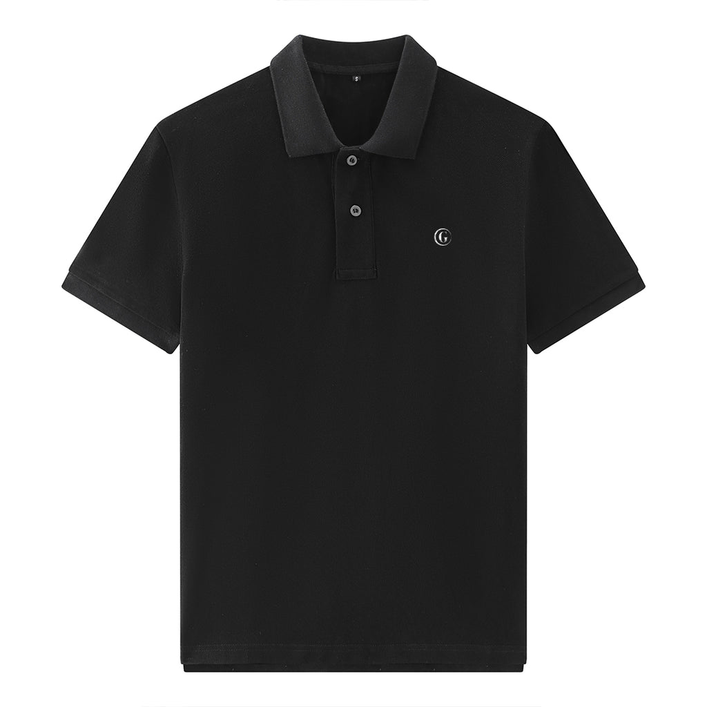 Gentoni Embroidered Logo Premium Polo Shirt In Black