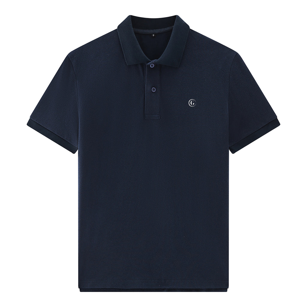 Gentoni Embroidered Logo Premium Polo Shirt In Blue