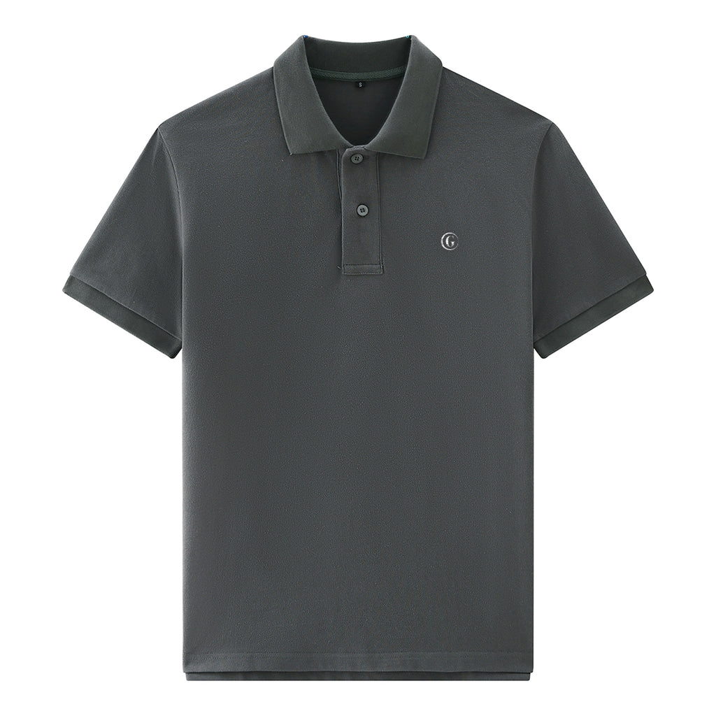 Gentoni Embroidered Logo Premium Polo Shirt In Gray