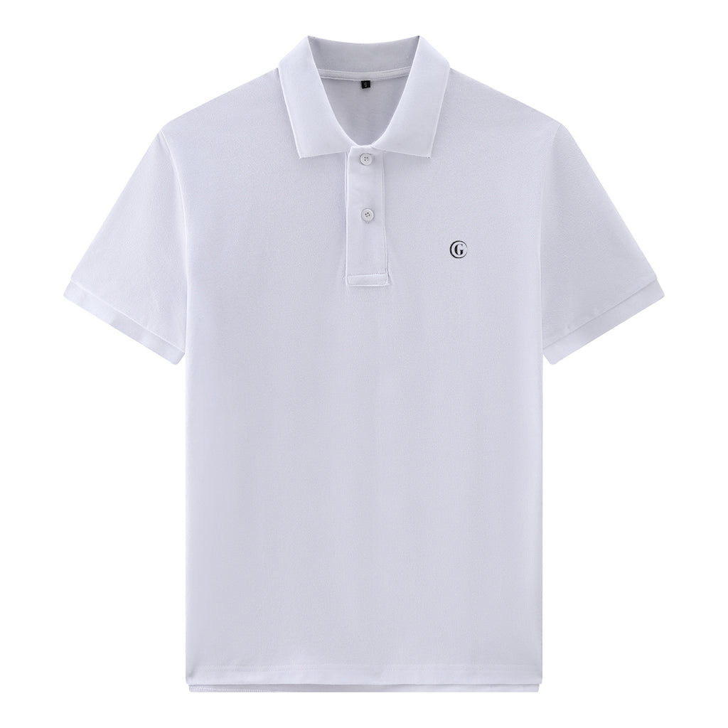 Gentoni Embroidered Logo Premium Polo Shirt In White
