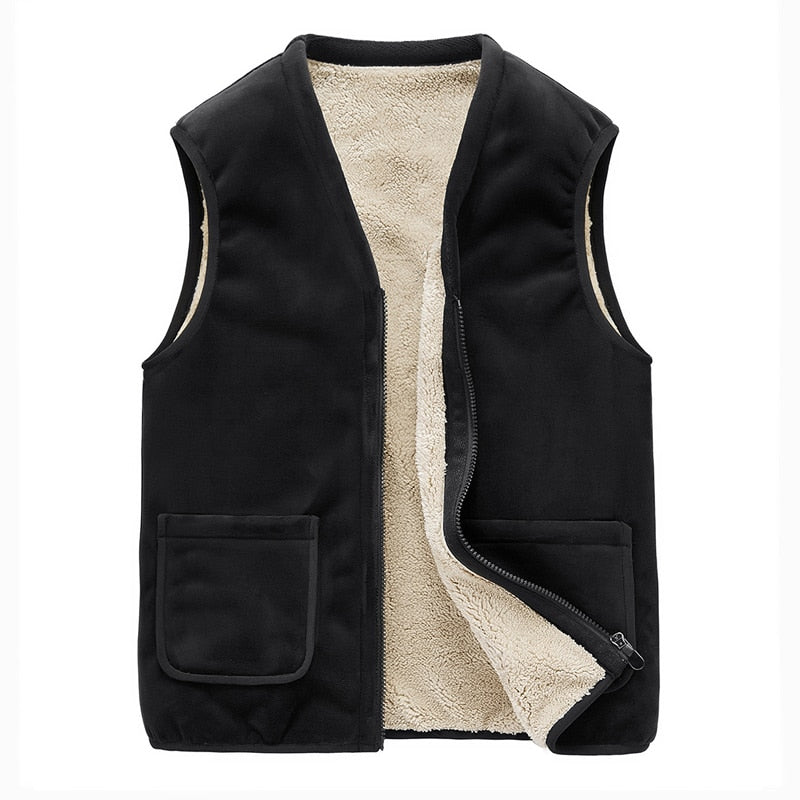 Sleeveless Velvet Vest In Black