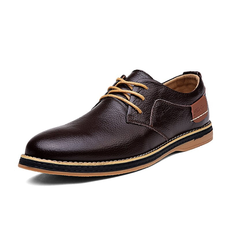 Casual Leather Shoes In Brown