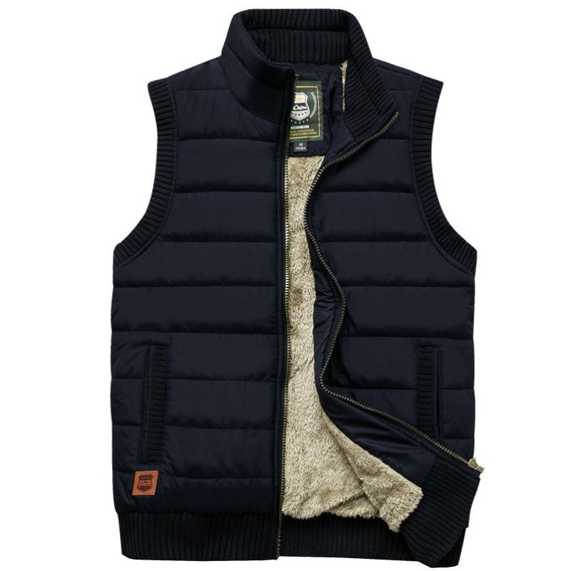 Woolen Lined Vest In Black