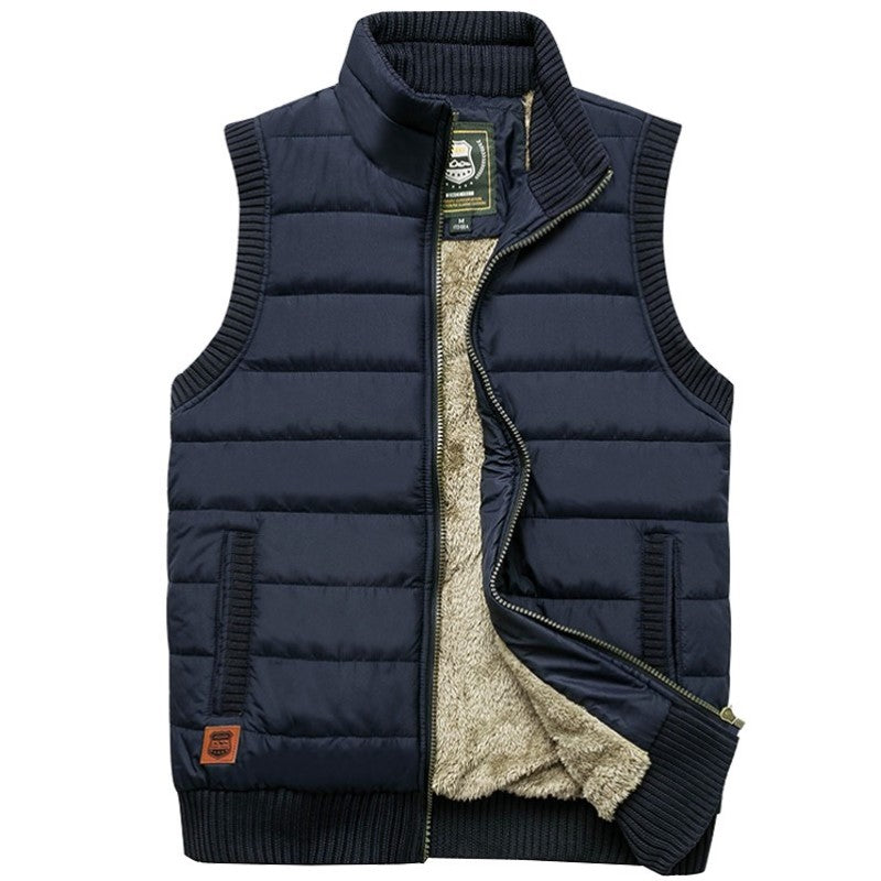 Woolen Lined Vest In Blue