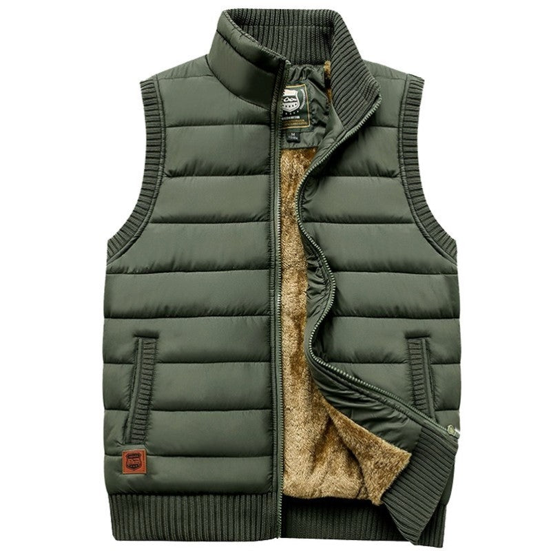 Woolen Lined Vest In Green