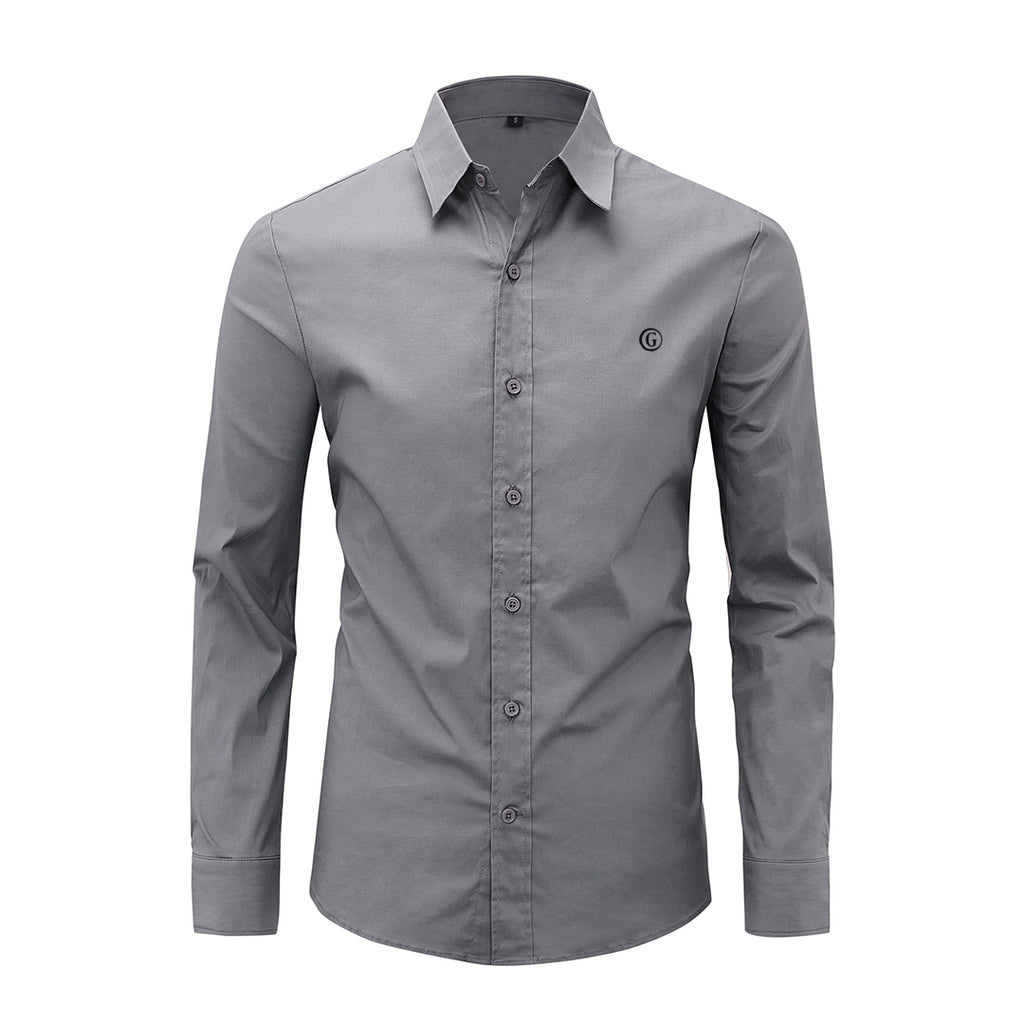 Gentoni Embroidered Plain Slim Fit Button Shirt In Gray