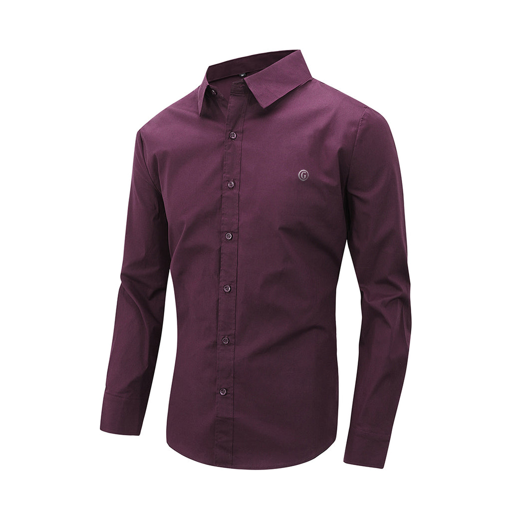 Gentoni Embroidered Plain Slim Fit Button Shirt In Wine Red