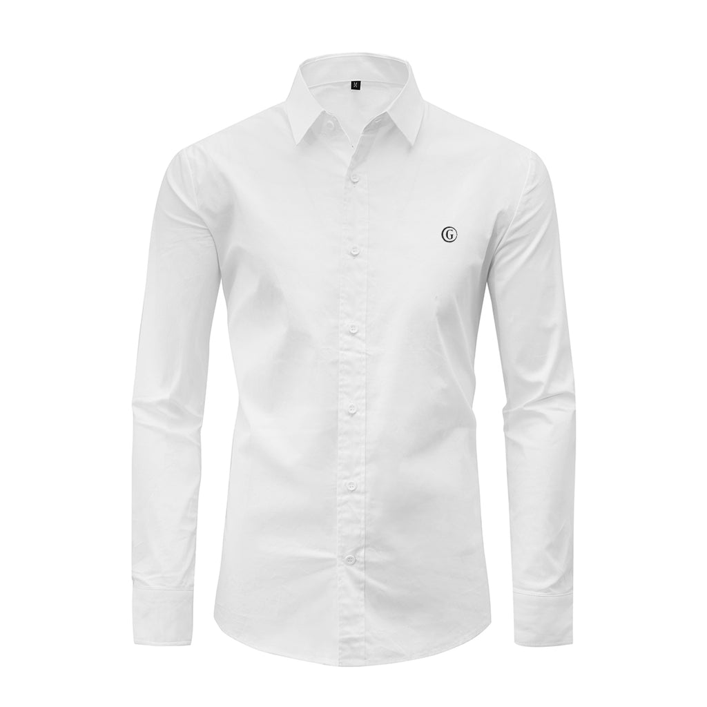 Gentoni Embroidered Plain Slim Fit Button Shirt In White