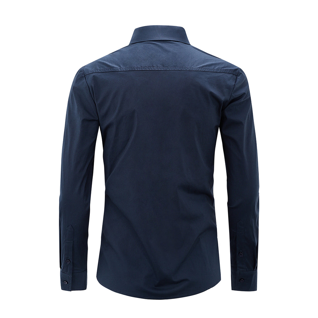 Gentoni Embroidered Plain Slim Fit Button Shirt In Navy Blue